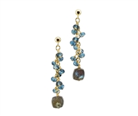 The spiral set London Blue Topaz is the perfect compliment to the uniquely cut cubed Labradorite drop which reflects the color of the stones around it. Made in the U.S. by Silver Pansy. The Drop Earrings are on Gold Filled Sterling wire & Posts.