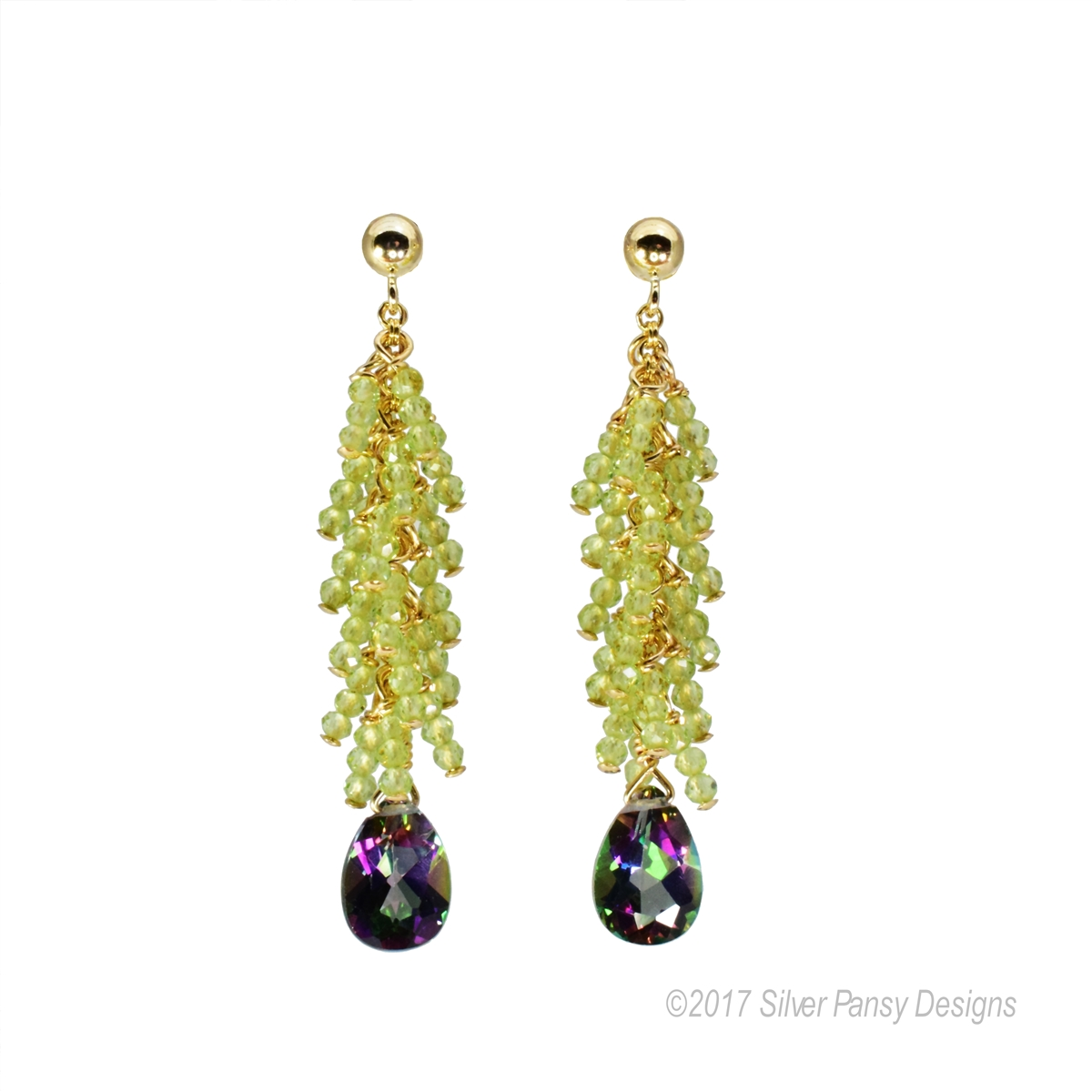Beautiful Hand Crafted Drop Earrings Green Peridot Gemstones Create A Feather Affect Above The
