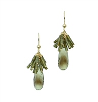 "A faceted Lemon Quartz Gemstone drop is given a unique look with a fan cluster of Green Jade Beads above.  Beautiful, unusual designer drop Earrings by Silver Pansy. Made in the U.S. Gold Filled Sterling Silver. Hooks. Length 1 5/8"", Width 5/8"""