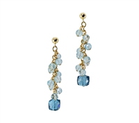 These cascading Blue Gemstone Earrings are sure to delight. The spiral drop of Aquamarine Gemstones ends with a uniquely cut, cubed, London Blue Topaz. Hand crafted in the U.S. by Silver Pansy. The Drop Earrings are in Gold filled Sterling Silver.
