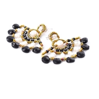 "From Ziio's new Spring/Summer Collection, these ""Abanico"" Earrings are reminiscent of a fan in their design. This pair is done in Black Onyx & Spinel Gemstones with White Water Pearls. Hand beaded on stainless steel wire with Murano Glass seed beads."
