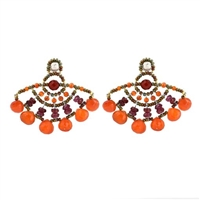 "From Ziio's new Spring/Summer Collection, these ""Abanico"" Earrings are reminiscent of a fan in their design. This pair is done in Orange Carnelian & Red Garnet Gemstones. Hand beaded on stainless steel wire with Murano Glass seed beads. Made in Italy"