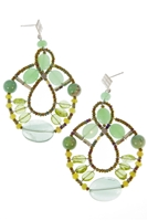 From Ziio's Permanent Collection, these Green Galaxy Chandelier Earrings are a beautiful harmony of green Gemstones. Chrysophrase, Peridot, Fluorite and Agate, in various hues and shapes, create a unique designer look. Hand crafted, stainless steel wire