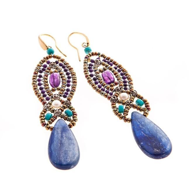 "Own the ""Color of the Year"" with Ziio's new Rha Earrings in Blue Kyanite.  Embellished at the top with Blue Lapis, Purple Amethyst & Turquoise gemstones, These long drop/chandelier Earrings are completed with a polished tear-drop Kyanite Gemstones."