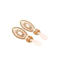Own the warmth of the sun with these Morganite Drop Earrings by Ziio. Embellished at the top with Coral &  Moonstone gemstones, these long drop/chandelier Earrings are completed with a polished tear-drop Morganite Gemstones. Made in Italy