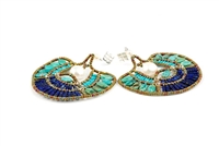 Make a statement with these amazing Chandelier Peacock Earrings by Ziio. The fan shape is filled with Turquoise Gemstones at the sides, Blue Lapis at the bottom and a large White Baroque Pearl at the center. Hand beaded in Italy on stainless steel wire