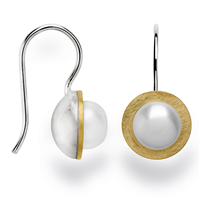 Beautiful & classic in design - these White Cultured Pearl drop Earrings are just what you have been looking for. Made in Germany by Bastian, they are done in two-tone Sterling Silver, White & Gold plated, and hold a lustrous White Pearl at the center