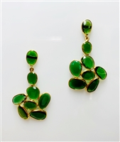 Stunning bezel set Green Tsavorite Garnet Drop Earrings. The rare Tsavorite Garnet is a beautiful, vibrant emerald green. Set in 18k Yellow Gold, made in Italy. A unique design that can take you from day to evening. Length 1 1/2 inch. 8.91ctw