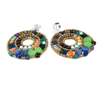 "The ""Cici"" Earring by Ziio is a masterpiece of rich multi-colored Gemstones. Purple Amazonite & Amethyst, Green Chrysophrase, Red Garnet, Blue Kyanite, Iolite, Lapis & Malachite, Orange Carnelian - beautifully blended together. Sterling Silver Posts"