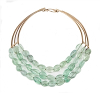 You have to love the translucent Sea Foam Green of Fluorite. This designer Necklace lets the Gemstones do all of the talking. Three strands of Fluorite are held by a brushed Gold Plated Sterling Silver Neck piece with a hook for easy closure.