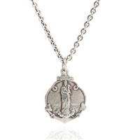 "Our Lady of the Guard recalls the Virgin Mary and her protection of everything relating to the sea.The Guard, a sanctuary on a harbor precipice in France is place of worship for all religions dating back to Greco-Roman times. Pendant L 1"" X W 3/4sterling"