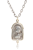 "The Virgo Maria Pendant. Sterling Silver,14k Yellow Gold, Pearl Drop 3.7mm. 24"" Oval link Sterling Chain. Mary, honor her grace as the mother of God & Her purity, the absence of original sin. Our spiritual mother, nurturing our spiritual life of grace."