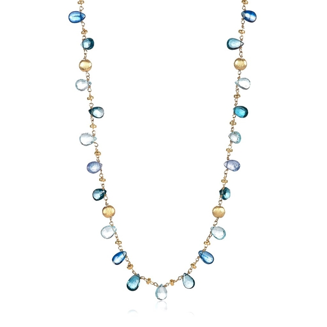"Shades of Blue Topaz Gemstones are mixed with Gold Petal Beads in this light and delicate Necklace. Made by Mabel Chong in 14k Gold Filled wire and chain. Lobster Clasp, length 16"" to 18"" adjustable."