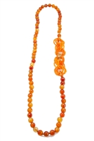 Long Carnelian Gemstone Necklace made in Italy, by Rajola. The Necklace is accented with interlocking infinity rings of Carnelian Seed Beads that can be worn asymmetrically or at the bottom. 18K Gold Chain Accents & logo. No latch. Length 33""