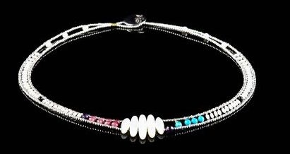 "Ziio's Necklace ""Air"" is aptly named - with Mother of Pearl, Turquoise, Amethyst Gemstones & white Seed Pearls  defined by Murano Glass Beads. 18"" in Length, adjustable to 15"". Sterling Silver Button Closure. Center Width 1 1/4"", band 3/8""."