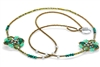 Ziio's Long Knott Necklace in Malachite & Chrysoprase Gemstones