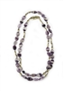 Long Purple Fluorite Gemstone Necklace with alternating Gold plated Beads. Made in Italy by Anticoa, this Necklace can be worn long or doubled. Length 41 inches with a Hook clasp.