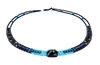 "From Ziio's Twilight Collection. This classic Armonia Necklace has shades of Blue & Black. Black Onyx, Blue Lapis, Turquoise, Zircon, Murano Glass Beads. 925 Sterling Silver Button Closure. Adjustable length from 18"" to 16"". Hand crafted in Italy"