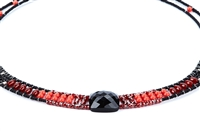 "From Ziio's Twilight Collection, this classic necklace is done in shades of Red & Black. Black Onyx, Tourmaline, Carnelian, Red Zircon, Murano Glass Beads. 925 Sterling Silver Button Closure. Adjustable in length from 18"" to 15"". Hand crafted in Italy."