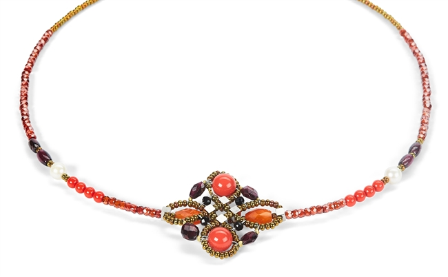 For those who want a lighter more subtle look, Ziio's Knott Knecklace in a wonderful medley of Reds - Garnet, Carnelian, Coral(simulated) & Zircon Gemstones create a whimsical piece that will add a pop of color. Accented with Murano Glass Seed Beads.
