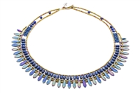 From Ziio's Mistinquett Collection, this hand-crafted Necklace has a large row of Lapis Gemstones  complimented by a fan like effect of Blue Bohemian Glass Beads and accented by Murano Glass Beads. 925 Sterling Silver Button Closure. Adjustable length.