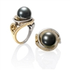 Martha Seeley's Nebula Ring in 2-tone 14K Yellow Gold & Argentium Silver.  This designer Ring features a 12mm Tahitian Pearl at the center & Pave Diamonds surrounding it. Size 7