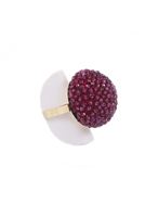 "Ring-Small faceted Purple Garnet Beads hand woven into a Sphere. The depth of color & faceted Gemstones give it amazing sparkle from every angle. The mounting and Ring band are in 18K Yellow Gold. Made in Italy by Rajola. Width 1 1/8"" Size 7."