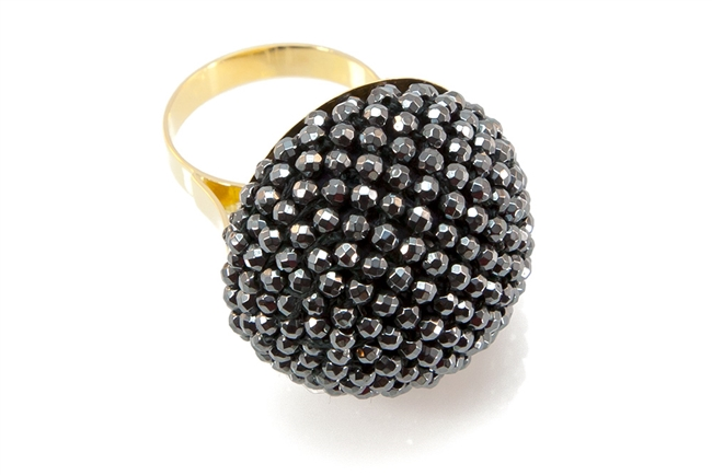 "Small faceted Hematite Beads hand woven into a Sphere. Silver-Grey Hematite gives a subtle look, while high polish gives incredible sparkle. The mounting and Ring band are in 18K Yellow Gold. Made in Italy by Rajola. Width 1 1/8"" Size 7. Can be re-sized"