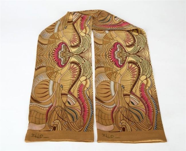 "Ziio's Jungle Print Silk Tube Scarf in Beige. A beautiful pattern in Beige, Tan, Pink and Cream with shades of Blue. Made in Italy. L 63"" X W"