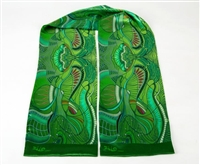 "Ziio's Jungle Print Silk Tube Scarf in Green. A beautiful pattern in Green with shades of Blue, Pink & Cream. Made in Italy. L 63"" X W 8"""