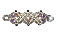 This Limited Edition Couture Bracelet is true Art-to-Wear. intricately hand woven design features a beautiful, subtle mix of Gemstones - Red Garnet, Purple Amethyst, Yellow Citrine, Grey Labradorite, Black Tourmaline and accented with Sterling Silver