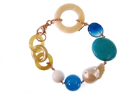 "Natural Tan Horn link Bracelet with random accents of  a large Baroque Pearl, Turquoise, Blue Agate & Chalcedony Gemstones. The links are held together with Rose Gold plated 925 Sterling Silver Chain links. 8"" in length. Lobster Clasp. Made in Italy"