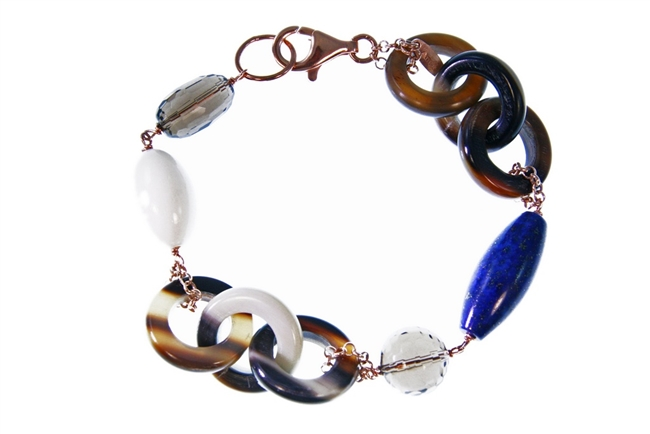 "Natural Brown Horn link Bracelet with random accents of Blue Lapis, Smokey Quartz & White Agate Gemstones. The links are held together with Rose Gold plated 925 Sterling Silver Chain links. 8"" in length. Lobster Clasp. Made in Italy by Amle"
