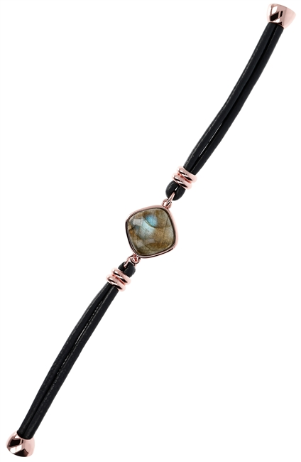 "A beautiful Labradorite Cabochon is a perfect neutral focus of this easy to wear Bracelet by Bronzallure.The band is a double row of grey leather wrapped cord. Finished in their patented 18k Golden Rose' plating. Magnetic Closure. Length 7 1/2"", Band 3/8"""