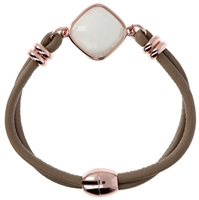 This beautiful Bracelet by Bronzallure features a Cabochon of White Mother of Pearl bezel set at the center. The band is a double row of soft tan leather covered cord. Made in Italy and finished in 18K Golden Rose Plating. Magnetic Clasp.