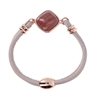 This beautiful Bracelet by Bronzallure features a Cabochon of Mulberry Red Fossil Wood at the center. The band is a double row of soft pink leather covered cord. Made in Italy and finished in 18K Golden Rose Plating. Magnetic Clasp.
