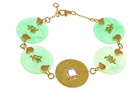 A stunning Green Jade Disc & Diamond Gemstone Bracelet high with Asian influence. The Jade Discs are enhanced with Oriental Letters and the Golden Disc Pendant at the center has Diamonds Pave set on both sides (0.25ctw Diamonds). Made in 18k Yellow Gold