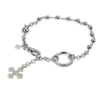 "Tuum's Rosario Bracelet is a tribute to the symbolic and aesthetic beauty of the ""Rosarium"". The Beads & chain are all done in 925 White Rhodium plated Sterling Silver. The Ring has a micro sculpture of the Lords prayer in latin relief. Flor Charm"