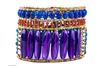 A stunning Designer Cuff Bracelet by Ziio features large polished Amethyst Gemstones, accented with Blue Lapis & Rust Red Carnelian Gemstones. Sterling Silver & Murano Glass Beads frame & define. 925 Sterling Silver Button Closure, adjustable length. Larg