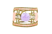Ziio's large Armonia Cuff Bracelet. Faceted Lavender Amethyst and two Pink Quartz Gemstones at the center. Band framed top and bottom with a row of Pink Coral seed beads. Also White Seed Pearl and Murano glass bead accents. 925 SS button closure.