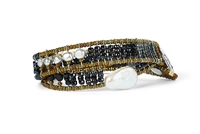 Ziio's double wrap beaded Boa Bracelet. Black Spinel, Zircon & Tourmaline Gemstones, various sizes and shapes of White Water Pearls. Contemporary and fun. Can be worn as a Choker. Hand crafted in Italy using stainless steel wire & Murano glass seed beads.