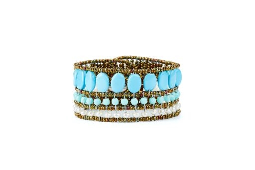 If you love Turquoise, but not the expense, this Cuff Bracelet by Ziio has all the beauty & craftsmanship you expect from them, but is done with imitation Turquoise. White Water Pearls, Murano Glass Beads, 925 Sterling Silver Button Closure. Hand crafted