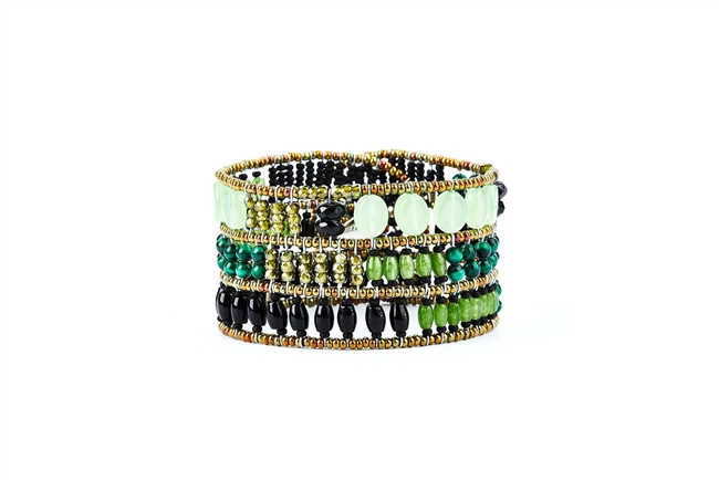 From Ziio's Twilight Collection, crafted in Italy, this wide Cuff Bracelet is a wonderful mix of shades of Green Gemstones and Black Gemstones. Chrysoprase, Malachite, Onyx, Jade, Brass & Murano Glass Beads. 925 Sterling Silver Button Closure,
