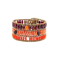 From Ziio's new Fenice Collection - this Cuff Bracelet features a blend of Red Garnet with Orange Carnelian & Zircon Gemstones, accented with Black Spinel & White Pearls. Made with Murano Glass Beads on Stainless Steel Wire. Hand crafted in Italy.