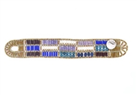 From Ziio's Fenice Collection - this Patchwork designed Cuff Bracelet features a mix of Blue & Purple Gemstones. Blue Lapis, Amethyst & Zircon Gemstones are accented with Blue Apitite & White Pearls in this linear design. Made in Italy
