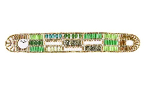 From Ziio's Fenice Collection - this Patchwork designed Cuff Bracelet features mixed hues of Green Gemstones. Peridot, Jade & Zircon Gemstones are accented with Green Malachite & White Pearls in this linear design. Made in Italy