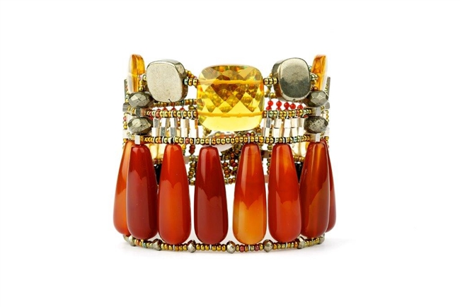 Stunning statement Cuff Bracelet from Ziio. Large cylindrical Red Onyx Gemstones are hi-lighted by Citrine Gemstones & Pyrite Beads. The designers love of ancient architecture was surely the inspiration for this design. Hand crafted in Italy.