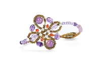 From Ziio's Knott Collection. Small Knott Bracelet in Lavender Amethyst & Orange Carnelian Gemstones on stainless steel wire beaded together with Murano Glass Beads creating the design. Handcrafted in Italy.