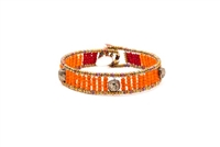 Ziio's Ovale Tennis Bracelet has Orange Beads & Pyrite. Hand-crafted in Italy. Made with Stainless Steel wire & multi-colored Murano Glass Beads. 925 Sterling Silver Button Closure, adjustable in length. Beautiful and fun, alone or stacked.