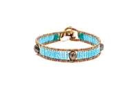 Ziio's Ovale Tennis Bracelet has imitation Turquoise Beads & Pyrite. Hand-crafted in Italy. Made with Stainless Steel wire & multi-colored Murano Glass Beads. 925 Sterling Silver Button Closure, adjustable in length. Beautiful and fun, alone or stacked.